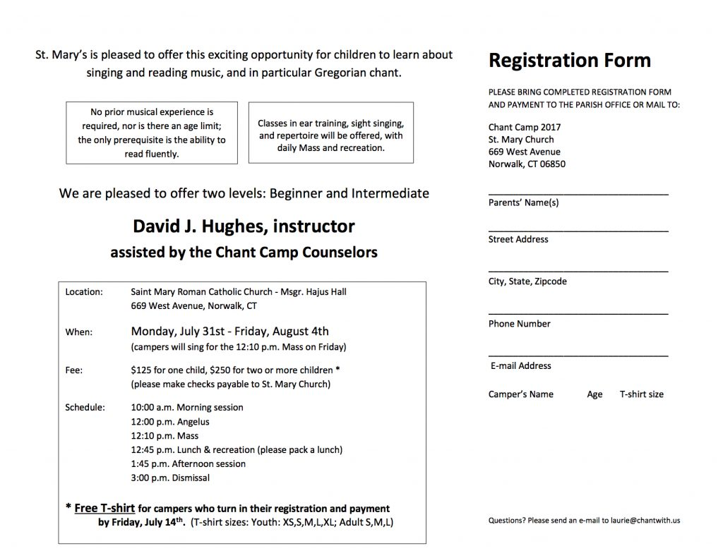 Chant Camp 2017 Registration Form