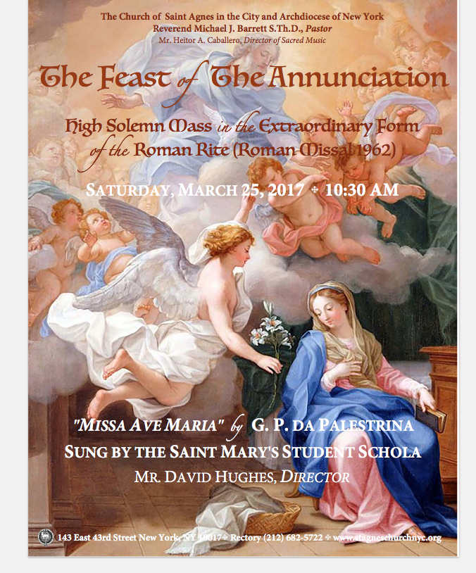 Annunciation Day 2017 - St. Agnes NYC