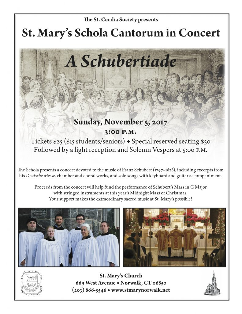 St. Mary's Schola to Perform Schubert [Poster]